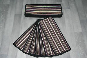 14 Striped Stair Pads Purple Stripey Quality Loop Berber Linea 14 Large Pads