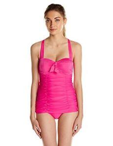 $142 Seafolly Goddess Retro Convertible Cross Back Raspberry Pink 1Pc Swimsuit 4