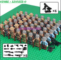 48PCS Minifigures WW2 Army Soldiers & Weapon Military British US Soviet lego MOC