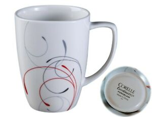 Corelle Square SPLENDOR 12-oz Porcelain MUG Coffee Cup *Red Gray Curled Scrolls