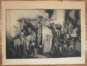 "Vintage modernist etching print crucifixion scene 15x20"" Christ Passion cross"
