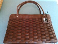 Longaberger Winslow Tote Purse Incentive Basket in Chocolate leather & maple