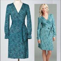 NWOT LILLY PULITZER Burke La La La Lilly Navy Silk Jersey Wrap Dress Size 6