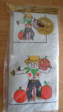 Scarecrow Halloween Fall Autumn paper table cloth & 12 napkins NOS Linette