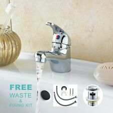 Modern Bathroom Taps Basin Sink Mono Mixer Chrome Cloakroom Tap  with Waste