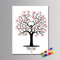 EG_ DIY Fingerprint Tree Signature Canvas Painting Guest Book Wedding  Decor New