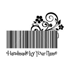 custom name bar code flower hand made by personalized self inking stamp 2""