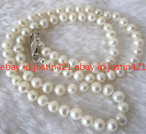 Real Natural 8-9mm White Akoya Cultured Pearl Jewelry Necklace 30''