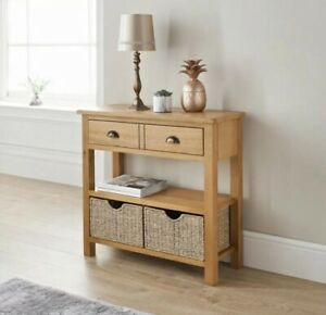Modern Wiltshire Oak Console Table with Storage Baskets,82x30x75cm Assembled.