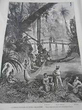 Engraving 1874 - co. Francaise to the ruins Cambodian