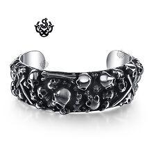 Silver skull cross bracelet stainless steel graveyard cuff bangle