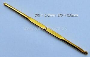 4.0mm - 5.0mm TULIP Double Pointed T-5 GOLD CROCHET HOOK