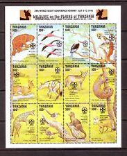 TANZANIA - 1996 ISSUE MNH 2 x SHEETLETS (28v) + M/S - ANIMALS OVPT SCOUT CONF