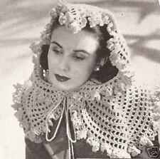 Vintage Crochet PATTERN to make Three Fascinator Shawl Wrap Head Scarf 3 Designs
