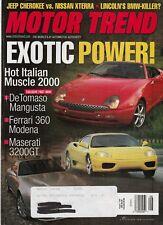 Motor Trend Aug 1999 - DeTomaso Mangusta - Ferrari 360 Modena - Maserati 3200GT