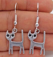 925 Silver Plated Hook -1.6'' Lovely Cat Kitten Pet Party Fashion Earrings #17