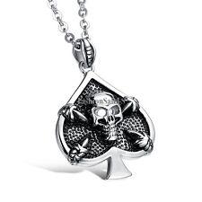 Men's Stainless Steel Necklace Vintage Spades Shape Hollow Skull Pendent