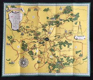 Ile de France 1947 French Government Tourist Poster Map by Jean Moles