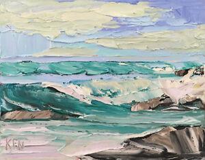 Viridian Seas One Original Expression Seascape Oil Painting 8x10 091918 KEN