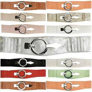 Damen Stretch Gürtel Kleid Dehnbar Elastisch Taillengürtel breit 11 Farben 2870
