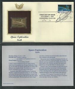 # 2570 SPACE EXPLORATION: EARTH 1991 Gold Foil First Day Cover