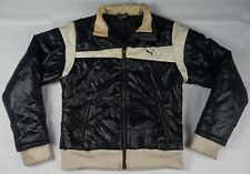 Rare Vintage PUMA Full Zip Puffy Puffer Jacket 80s 90s Racing Black White SZ L