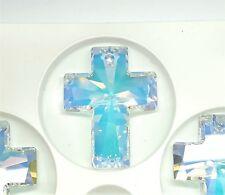 Swarovski Crystal Cross Pendant (6864) 40x30mm Crystal AB - Package of 1