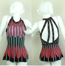 Missoni Womens Knit Sleeveless Top Blouse Peplum Strappy 42 6 Colorful Shirt