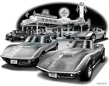 "CORVETTE 1972, 1969 C3 MUSCLE CAR AUTO ART PRINT #1044 ""FREE USA SHIPPING"""