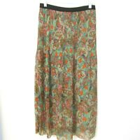 New Directions Maxi Skirt Size Small Crinkle Pleat Lined Elastic Waist Long