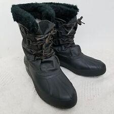Sorel Womens Boots 11 Black Faux Fur Lace Up Snow Winter Canada