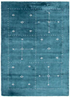 """Hand-Knotted Carpet 4'0"""" x 5'6"""" Gabbeh, Tribal Wool Rug"""