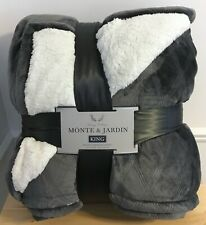 New King Monte & Jardin Velvet Diamond Jacquard Sherpa Blanket Plush Grey 112x92