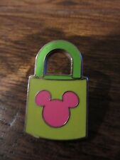 WDW Disney Trading Mickey Mouse Pink Green PADLOCK LOCK Head Icon Mickey Ears