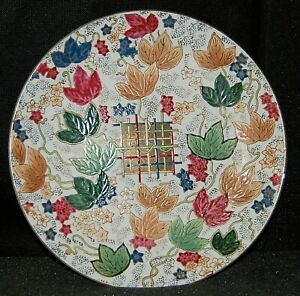 Toyo Trading Co Decorative Ceramic Wall Art Plate Fall Maple Leaves Weave 10.25D