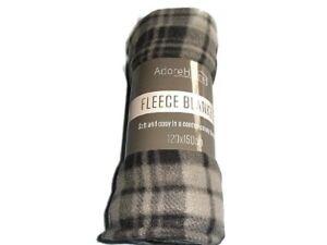 Contemporary Design Fleece Throw Travel Car Blanket 120x150cm(Check Grey Tartan)