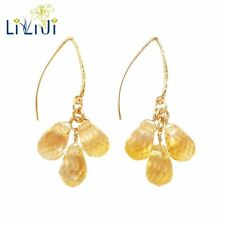 LiiJi Citrine Drop Shape Faceted 925 Sterling Silver Gold Color Dangle Earrings