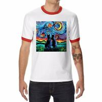 Van Gogh's Cats Men/Women Ringer Funny T-shirts Cotton Short Sleeve White Tee