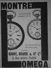 PUBLICITÉ DE PRESSE 1905 MONTRE OMEGA DE PRÉCISION KIRBY BEARD -- ADVERTISING