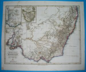 1860 dated ORIGINAL MAP AUSTRALIA NEW SOUTH WALES MELBOURNE gold deposits PERTH