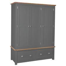 Grey Painted Oak 3 door Solid Triple Wardrobe Oak Drawer / Bedroom Farrows