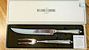 Williams Sonoma Home Stainless Carving Knife And Fork Gift Set NIB