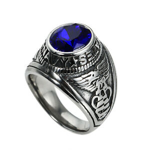 US NAVY Ring Stainless Steel Men's USN Army Honor Ring Biker Punk Blue CZ Stone
