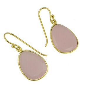 Natural Pink Chalcedony Egg Shape Yellow Gold Plated Earrings For Women Girls