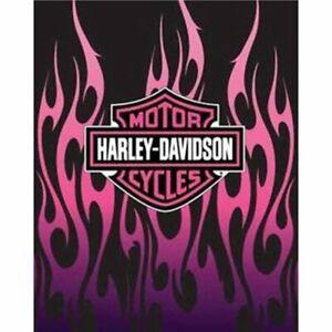 Harley-Davidson Heavyweight Blanket, Pink Flames