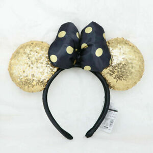 Disney Parks Black Bow Golden Mickey Minnie Mouse Sequin Ears Headband