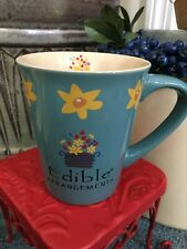 Edible Arrangements Blue Color Large Coffee Mug Cup Yellow Flowers Floral Baske