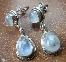 Moonstone Double Gem 925 Sterling Silver Stud Earrings w/ Grooved Accents h102g