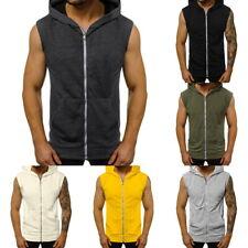 Men Sleeveless Zip Gillet Hoodie Sweatshirt Light-weight Slim Sport Vest Tops &
