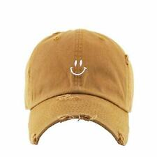 Smiling Face Vintage Baseball Cap Embroidered Cotton Adjustable Dad Hat